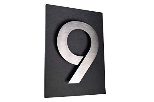 Hausschild Nr.9 Hausnummer aus Edelstahl V2A / 1 x Hausnummer, (ITC-Bauhaus in 2D-Design, 20cm hoch)...