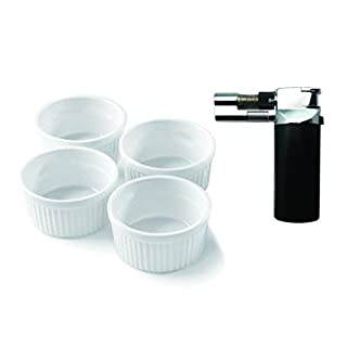 A-ONE KITCHEN TOOL Black Creme Brulee Micro Blow Torch with 4-Piece Round Ramekins