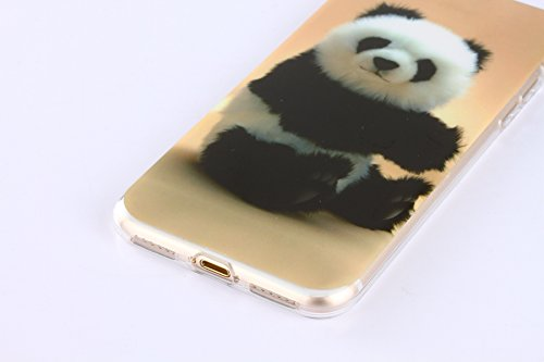 iPhone 6S Plus Silicone Case,iPhone 6S Plus Coque - Felfy Coque Souple Transparente TPU Silicone cadre et Plastic Back Case Premium Ultra-Light Ultra-Mince Skin de Protection Anti-Choc Bumper pour App Panda Mignon Case