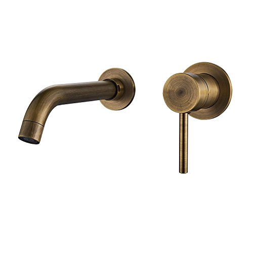 Descripción del producto: Tipo de grifo: grifo para fregadero de baño. Tipo de instalación: montaje en pared amplio. Orificios de instalación: 2 agujeros. Número de asas: uno. Material del grifo: latón. Acabado: latón envejecido....