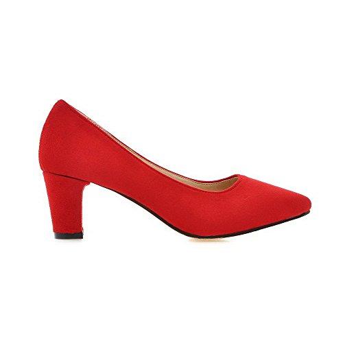 VogueZone009 Femme Couleur Unie Suédé à Talon Correct Pointu Tire Chaussures Légeres Rouge