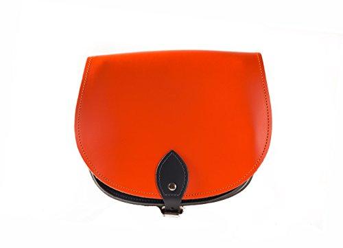 naranja Noir Deux couleurs / Dual / Contraste / de cuero real Cuerpo Cruz Saddle Sac ˆ main avec sangle rŽglable et fermeture ˆ boucle. Disponible dans de nombreuses combinaisons