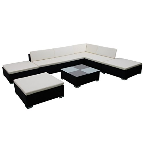 vidaXL Gartenmöbel 20-TLG. Poly Rattan Lounge Sitzgruppe Sitzgarnitur Gartenset