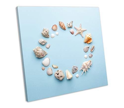 lmf379581 Canvas Print Sea Shells Pastel Framed Wall Art Square Picture Bedroom Bathroom Decoration Wall Art Wall Decor