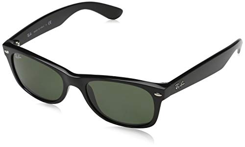Rayban Sunglasses RB2132 901 52-18 New Wayfarer Classic Crystal Green Solid Lenses Black Frame