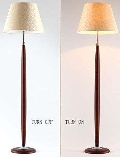 MJK Lampadaire, abat-jour en tissu brodé Simplicité moderne Woody Lampadaires verticaux pour salon Étude de chambre à coucher rétro Ampoule incluse