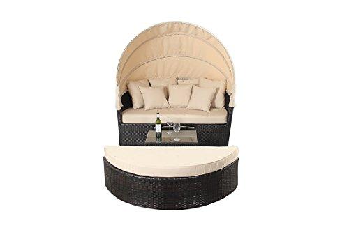 West Country groß Sofa-inklusive Das Bett Sich mit Einem Einziehbarem Himmel und EIN Glas Top Kaffee Tisch Rattan Garten Möbel -
