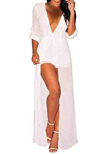 E-Girl SY60458 femme sexy Robe maxi Blanc