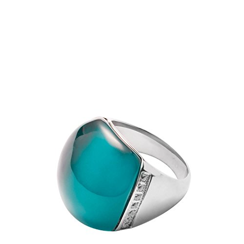 JEWELS BY LEONARDO Damen Ring Casoli Edelstahl/silberfarben Glas Zirkonia türkis Ringgröߟe 53 (16.9) Glitzer 016495