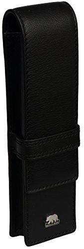 Brown Bear Schreibgeräte-Etui für 2 Stifte Leder Schwarz hochwertig