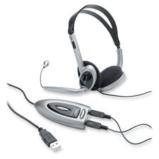 Compucessory Multimedia USB Stereo Headset, Black and silver by Compucessory