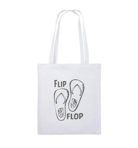 Comedy Bags - FLIP FLOP - SCHUHE - Jutebeutel - lange Henkel - 38x42cm - Farbe: Schwarz / Silber Weiss / Grau