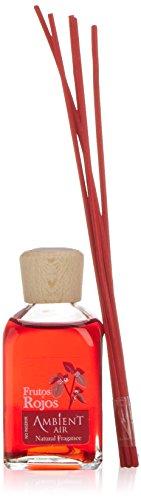 Ambientair Mikado Ambientador para Hogar, Aroma Frutos Rojos, Cristal, Rojo, 6 x 6 x 19 cm