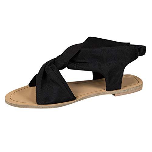 (Lucky Mall Frauen Cross Gürtel Peep Toe Flache Sandalen, Damen Outdoor Schuhe Casual Arbeitsschuhe Open Toe Strand Sandalen)