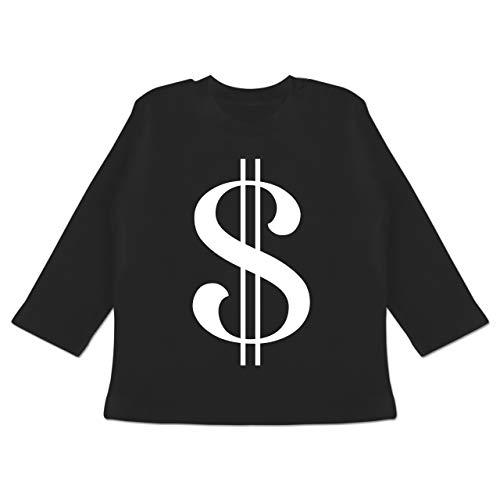 Karneval und Fasching Baby - Dollar Kostüm weiß - 12-18 Monate - Schwarz - BZ11 - Baby T-Shirt Langarm (Dollar Baby Kostüm)