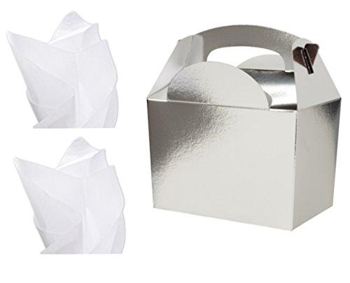 25 x Boîte pour boîtes à déjeuner – Boîtes cadeaux – avec papier de soie x2