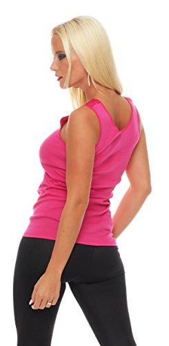 Hochwertiges Damen Träger-Top mit großer Spitze Nr. 416 (Oberteil / Unterhemd / Träger-Shirt) 100% Baumwolle ( Pink / 56/58 ) - 3