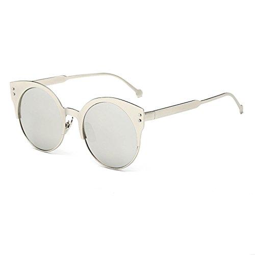 QHGstore Adatti a donne di retro modo Aviator specchio lente degli occhiali da sole bianco