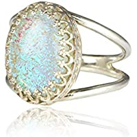 Anemone Jewelry 925 Sterling Silver Opal Ring - Stunning Silver Stacking Ring Made with Eternal Beauty and Elegance - 10 Carats with All Sizes Available - Handmade