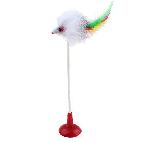 Juguete de raton con ventosa y plumas para gatos