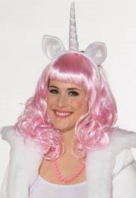 Einhorn Einhornperücke rosa Perücke + Haarreif mit Horn und Ohren Märchen Fabelwesen