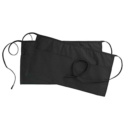 Delantal cintura Delantal negro 3 bolsillos Delantal