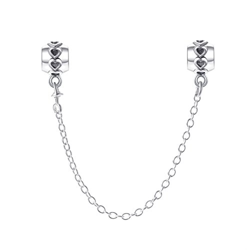 Changeable charms bead catenina per sicurezza da donna argento sterling 925 (cuori fila)