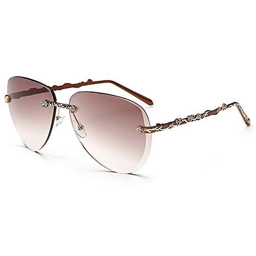 Easy Go Shopping Trend rahmenlose Sonnenbrille Elegante Frauen Sonnenbrille Mode Sonnenbrillen Sonnenbrillen und Flacher Spiegel (Color : 03Tea, Size : Kostenlos)