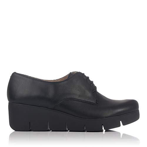 LINCE 80156 Zapato Piel Cordon Plataforma Mujer Negro