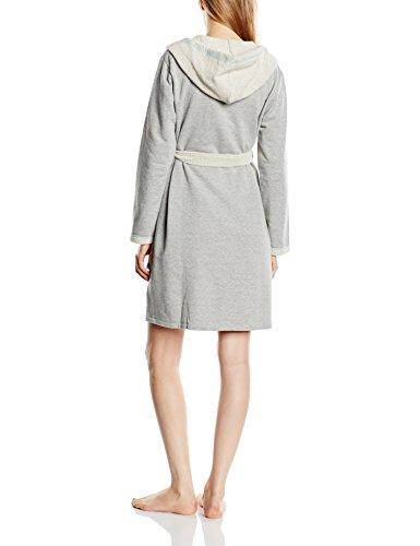 dn-nightwear Damen Bademantel mit Kapuze Grau/Grün