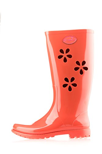 MEI LA Damens Original Perforierte Blumen 353 Gummistiefel Orange