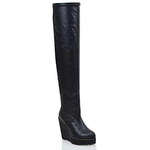 ESSEX GLAM Ladies Over The Knee HIGH Platform Wedge Heel Womens Stretch Thigh HIGH Boots