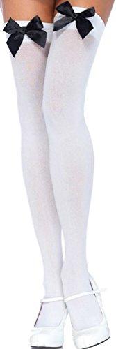 Leg Avenue Damen halterlose Strümpfe weiß mit schwarzen Schleifen Einheitsgröße ca. 38 bis 40 -