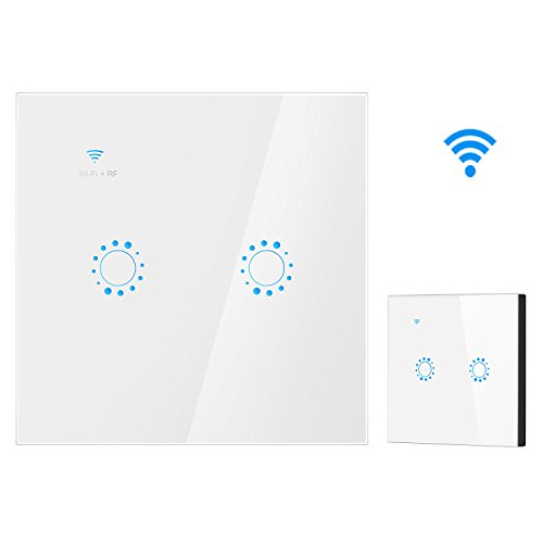 Smart WiFi Switch 2 Gang Wandhalterung WiFi RF Control Kompatibel mit Alexa Google Assistant Wireless Smart Wandschalter (Weiß) 3 Gang Wandhalterung