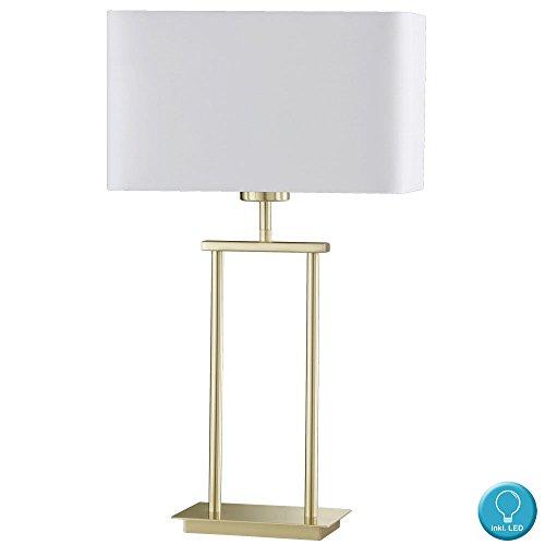 Textil Tisch Leuchte Wohn Arbeits Zimmer Beleuchtung Messing Lese Lampe im Set inkl LED Leuchtmittel (Messing Leselampe)