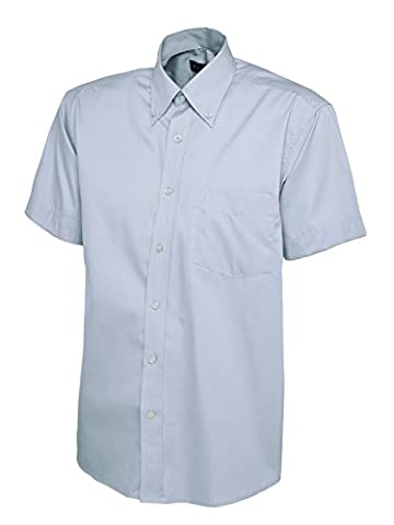 Mens Pinpoint Oxford Short Sleeve Shirt Light Blue