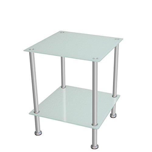 Tavolino in vetro temperato e acciaio quadrato da salotto camera
