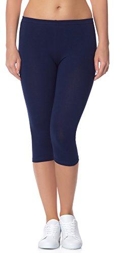 Ladeheid Damen Leggings aus Baumwolle 3/4 LAMA01 (Dunkelblau14, L/XL (Herstellergröße: 40/42)) Blaue Capri Leggings