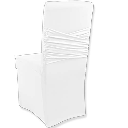 Gräfenstayn fodera elasticizzata per sedia victoria con fiocco integrato - vari colori per schienali tondi e quadrati in versione bielastica con certificazione oeko-tex standard 100 (bianco)