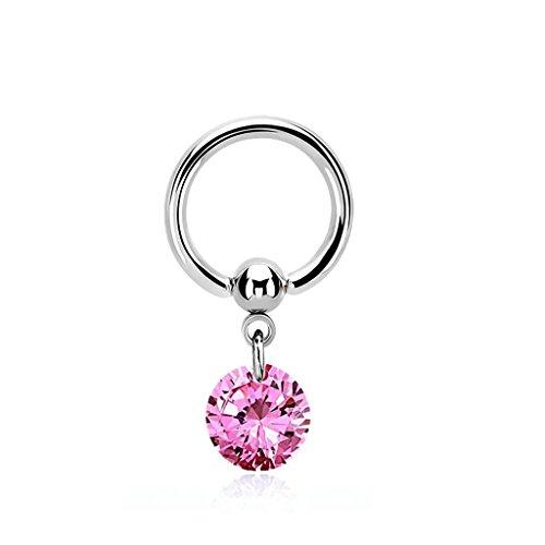 1,6mm Intimpiercing Ring mit pinken Anhänger - Piercing Ring 1,6x10mm Durchmesser