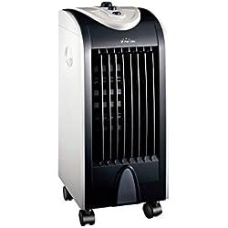 PURLINE RAFY 51 Climatizador evaporativo Compacto de bajo Consumo, Ruedas, Lamas oscilantes, plástico, Acero, Blanco y Negro