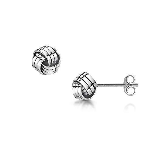 Amberta orecchini a lobo piccoli in vero argento sterling 925 - coppia di orecchini etnici per donna -paio di orecchini a perno a forma di nodo