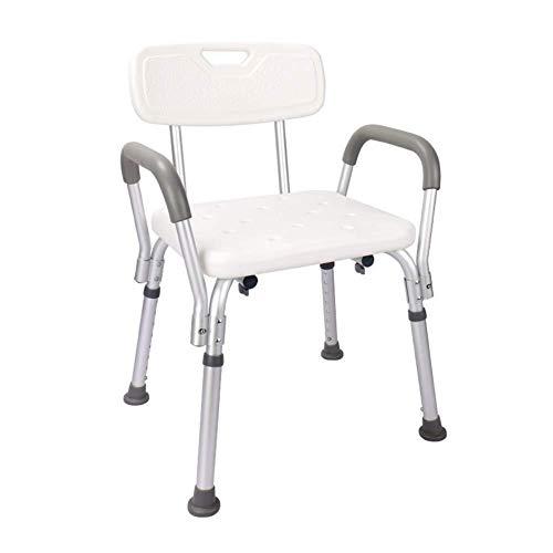 QIANG-w Dusche & Bad Hocker Weiß Dusche/Bad Sitzhocker, Bequeme Ruhesessel, Aluminium-Legierung Schuh Bank mit Rückenlehne Griff, Ältere/Behinderte, Einstellbar in 8 Höhe, Unterstützung 100kg