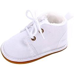 Kingko® Bambino del bambino pattini infantili neve stivali Shoes suola in gomma Prewalker pattini della greppia inverno Stivali (6~12 mesi, Bianco)