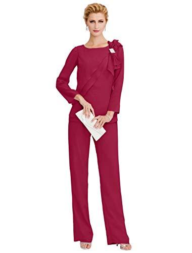 WAZA Hosenanzug Jewel Neck bodenlangen Chiffon Kleid für die Brautmutter mit Kristallen Seite drapieren - 55 Wh Apple