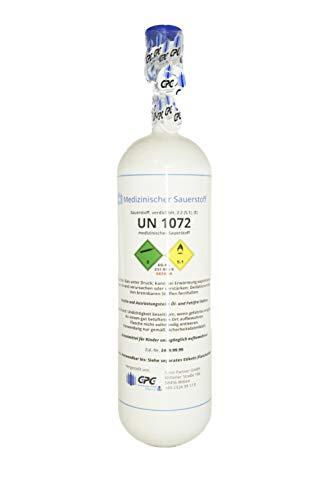 Medizinischer Sauerstoff 2 Liter Flasche/Med. O2 (GOX) / NEUE Gasflasche (Eigentumsflasche), gefüllt mit med. Sauerstoff nach AMG - 10 Jahre TÜV ab Herstelldatum, 400 Gasliter - made in EU