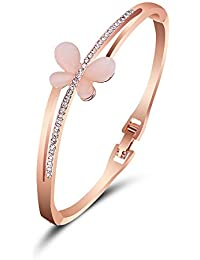 Shining Diva Fashion Jewellery 18k Rose Gold Stylish Bangle Bracelet For Girls And Women