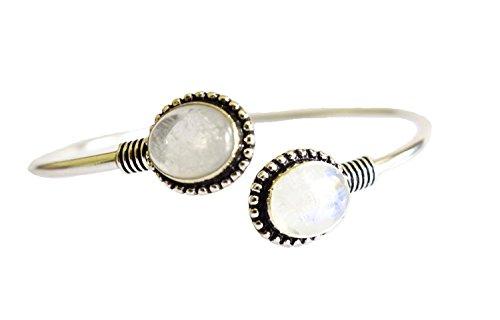 TIBETAN SILVER Blue Fire Mondstein Edelstein Manschette Armband für Frauen 925 Silber Manschette Armband handgefertigt Mode Manschette Tibetisches Silber (Manschette Mondstein Armband)