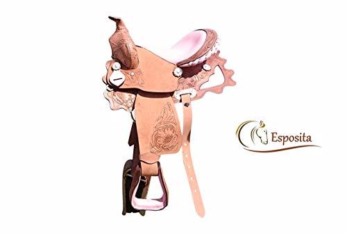 """Esposita Westernsattel \""""Princess\"""" für Pony und Shetty 12\"""" echtes Leder mit Rosa"""