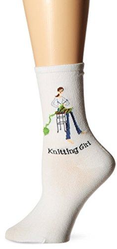 K-Bell Socken Damen der Serie Mädchen Novelty Casual Socke, weiß, Size 9 to 11